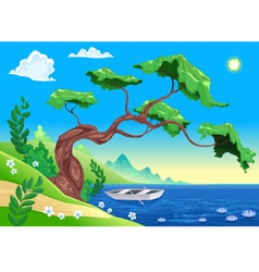Romantic landscape with tree and water vector image