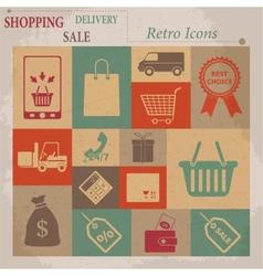 Shopping Flat Retro Icons vector image
