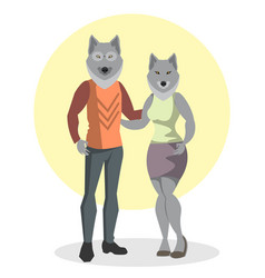 the wolf and wolf fashion vector image