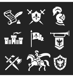 Medieval Knight armor and swords icon set vector image vector image