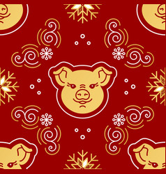 2019 new year pattern seamless golden pig swirls vector