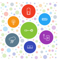 7 electricity icons vector