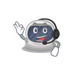 A gorgeous astronaut helmet wearing headphone vector