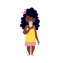 african american girl eating ice cream flat vector image