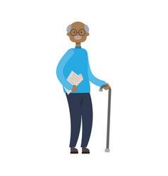 African grandfather with stick full length avatar vector