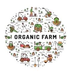Agriculture and organic farm fresh line art vector