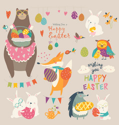 Animals celebrating easter vector