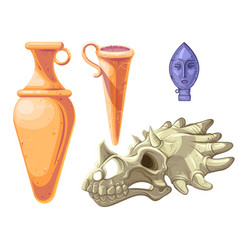 Archaeological and paleontological finds cartoon vector