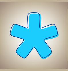 Asterisk star sign sky blue icon vector