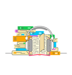audiobook and headphones flat vector image