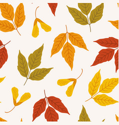 Autumn seamless pattern with colorful maple vector