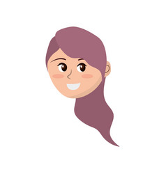 Avatar happy woman face with hairstyle design vector
