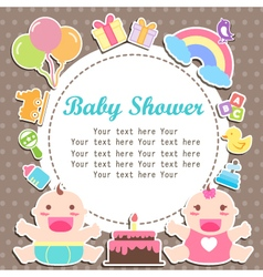 Baby boy and girl shower care with place for your vector