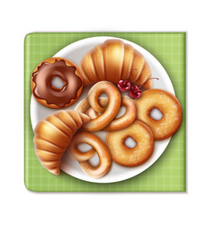 Bakery products on plate vector