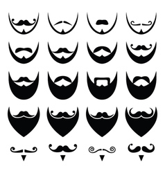 Beard with moustache or mustache icons set vector image