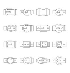Belt buckles icons set outline style vector