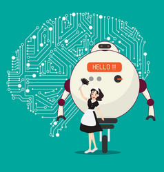 big ai robot and assistant with brain mechanism vector image