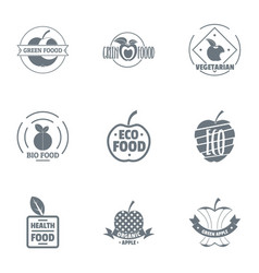 Bio grocery logo set simple style vector