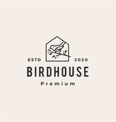 bird house hipster vintage logo icon vector image