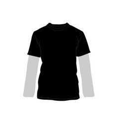 Black t-shirt long sleeve double fashion style vector