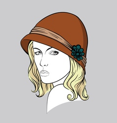 Blonde woman with brown hat vector image