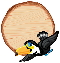 board template with cute toucan on white vector image