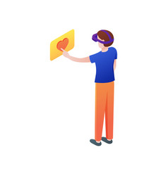Boy at home touch heart or put like in vr headset vector