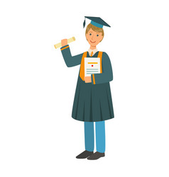Boy in mantle gown and academic square cap holding vector
