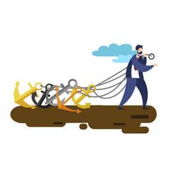 businessman pull ship anchors vector image