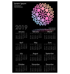 calendar design for 2019 simple black background vector image