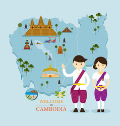 Cambodia map and landmarks with people in vector