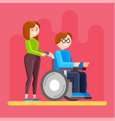 caring for invalid disabled person care vector image