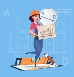 Cartoon builder woman hold plan of building vector