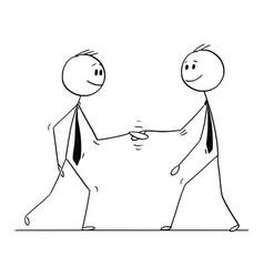 Cartoon of two men or businessmen shaking hands vector