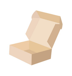 close-up single carton box open empty isolated on vector image