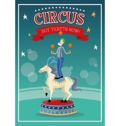 Clown over horse of carnival design vector