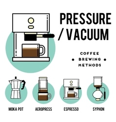 Coffee brewing methods pressure or vecuum vector image