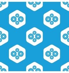 Cogs hexagon pattern vector image