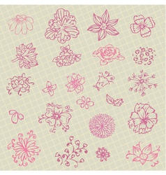 collection of hand-drawn flowers vector image
