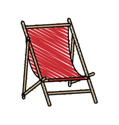 Color crayon stripe wooden chair for beach vector