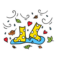 Colorful rubber boots doodle drawing autumn vector