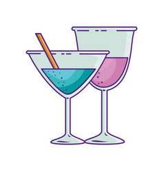 cups cocktail and wine drinks vector image