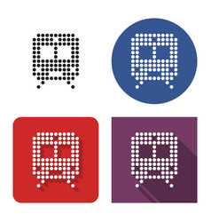 dotted icon train in four variants with short vector image