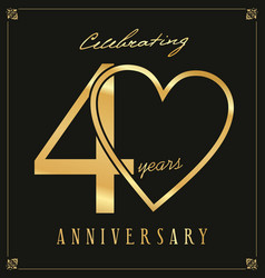 Elegant black and gold anniversary background 40 vector