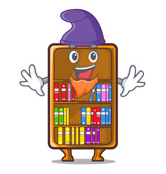 Elf mascot bookcase beside the study desk vector