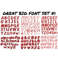 English fonts in red bold vector image