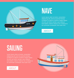 Fish business flyers with fishing trawlers vector