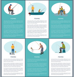 fishery outdoor activity poster with fishermen vector image