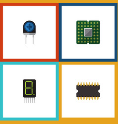 Flat icon electronics set of microprocessor vector