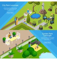 Garden Park Landscape Banners vector